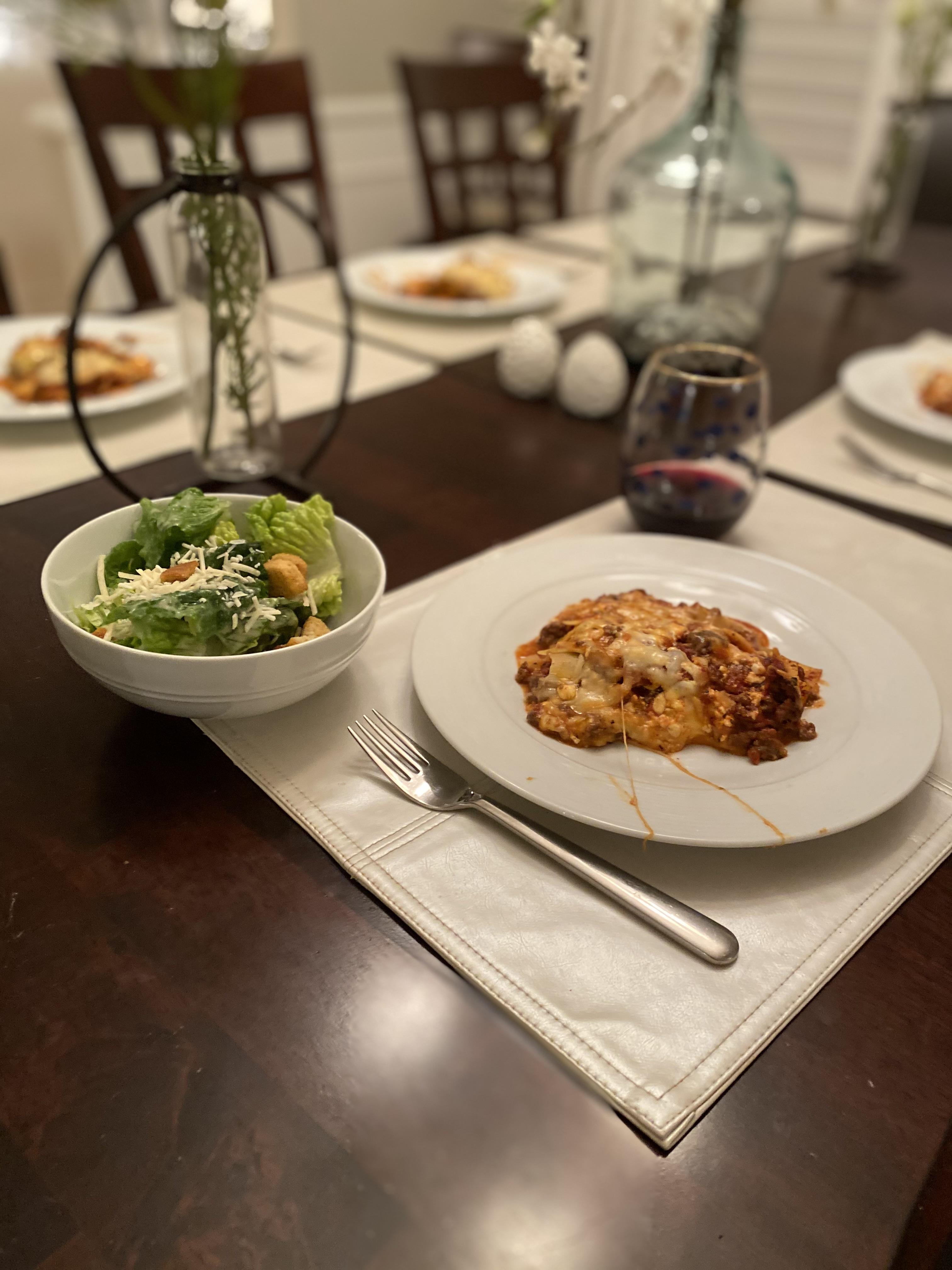 Lasagna on Table