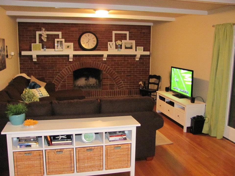 First House Dark Brick Fireplace