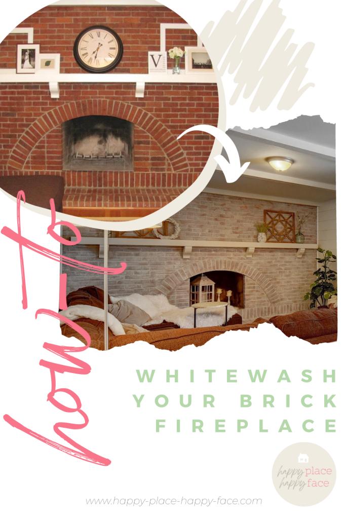 How-To Whitewash Brick Fireplace
